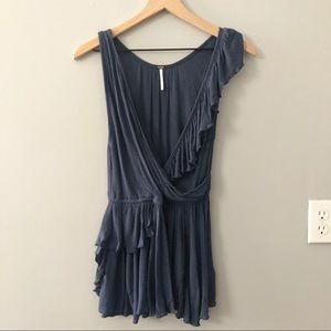 Free People Blueberry Float Away Ruffle top Small